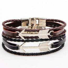 $enCountryForm.capitalKeyWord NZ - Awesome alloy arrow real leather BRACELET with original bag Unisex personalized wristband wrist jewelry bangle accessories Cool Bracelets