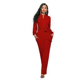 127e3481f53 Women EleAutumn Winter 2018 Long Sleeve Work Office Stretch Bodycon African Wide  Leg Pants Formal Romper Jumpsuit 205071