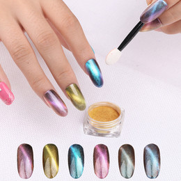 China Laser Dust 3D Cat Eye Magnet Nail Powder 6 color Magic Chameleon Powder Nail Glitter Nail Art Pigment Manicure suppliers