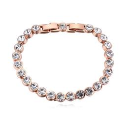 5dd0cb1b45ae Alta calidad famosa marca de diseño redondo cristales de swarovski amor  pulsera de tenis para mujeres joyería de la boda accesorios regalo