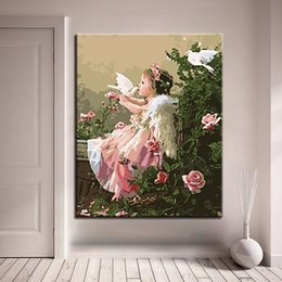 $enCountryForm.capitalKeyWord Canada - DIY Oil Painting By Numbers Kits Coloring Handpainted Angel Girl And Doves Pictures On Canvas Home Decor Wall Art Framework Gift