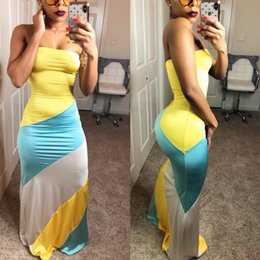 b5b78fcbb2c Rainbow Striped Dresses NZ - Summer Fashion Sexy Women Ladies Dress Party  Dress Sleeveless Strapless Rainbow