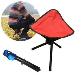 Outdoor Three-Legged Fishing Stool Foldable Folding Stool Camp Beach Fishing Travel Camping Picnic Chair Fishing Accessories OOA5021 on Sale