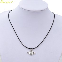 $enCountryForm.capitalKeyWord NZ - Diomedes Newest Creative Necklace New Retro Saturn Necklace Pendant Black Leather Cord Choker Charm Gift Accessories Sexy Chain