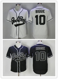 baseball stitches Canada - Cheap 10 Biggie Smalls Bad Boy Black White Jersey Baseball Men's Biggie Smalls Stitched Cool Base BadBoy Shirts With 20th Years Patch