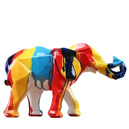 China New Arrival Natural Resin Elephant Mascot Colorful Colors Geometric Figures Home Decor Christmas Gifts Office decoration suppliers