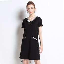 2018 Elegant Cotton Dress Black Striped Dresses Maternity Dresses Casual Pregnancy  Dress Loose V-Neck Plus Size 5XL 81ba94c7d543