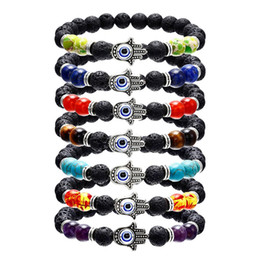 Black Coral Beads Wholesale NZ - Volcanic Stone 8MM 7Chakra Fatima Hand Evil Eye Bracelet Yoga Beaded Bangle Red Coral Beads Colorful Jewelry For Women Gift