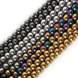 8 mm de alta calidad de piedra negra natural hematites granos flojo redondo para la joyería que hace DIY pulsera del collar de 4/6/8 / 10MM en venta