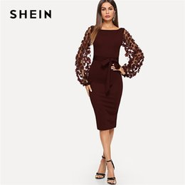 e4b4c9e7de SHEIN Maroon Party Elegant Solid Flower Applique Mesh Sleeve Form Fitting  Skinny Dress Autumn Workwear Women Dresses