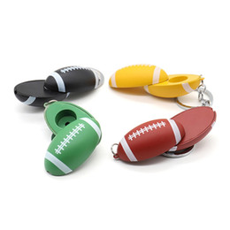 unique keychain design 2020 - Newest Colorful Zinc Alloy Pipe Keychain Football Shape High Quality Mini Smoking Pipe Tube Portable Unique Design Easy