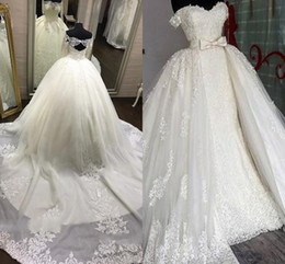China Noble Ball Gown Wedding Dresses Sexy Sweetheart Lace Mopping Long Section Tiered Skirts Overskirts Removable Train WeddingGowns cheap removable covers dresses suppliers