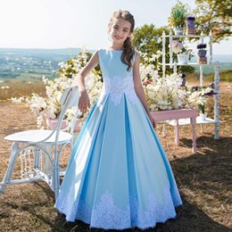 China Lovely Blue A Line Floor Length Kid Birthday Dresses Jewel Neck Sleeveless Lace Appliques Satin Baby Girls Prom Gown for Wedding suppliers