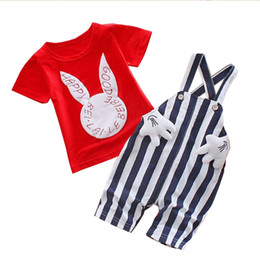 $enCountryForm.capitalKeyWord UK - Baby boy summer clothes Sets rabbit kids casual sport suits girl tracksuits costume children clothing bib t shirt+stripe shorts