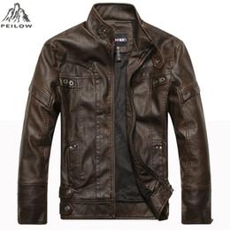 Mens Parka Leather Australia - PEILOW winter Jackets Men Motorcycle leather Jackets jaqueta de couro masculina warm male leather bomber jacket Mens parka coat