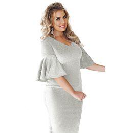806fe33d1b7 Elegant Women Plus Size Bodycon Dress Flare Half Sleeves XXXL 4XL 5XL 6XL  Big Size Dresses V-Neck Midi Slim Party Dress 2018
