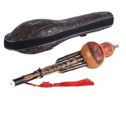 Wholesale Chinese Handmade Hulusi Black Bamboo Gourd Cucurbit Flute Ethnic Musical Instrument Key of C with Case for Beginner Music Lovers
