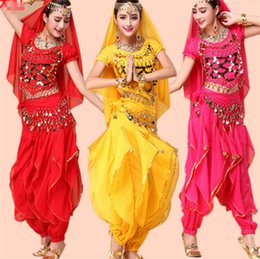 ruffled veil NZ - 6 Color Stage Performance Oriental Belly Dancing Clothes 4-piece Chiffon Short Sleeve Top&Coin belt &lantern Pants &veil Belly Dance Costume