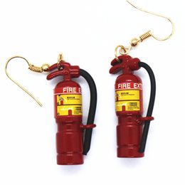 Discount crazy earrings - 1 Pc Crazy Exaggeration Fire Extinguisher Earrings Female Creative Hand-made Jewelry Prom Party Personality Funny Access