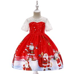 red dressed cartoon girl Australia - Cartoon Christmas dress Santa Claus Snowflake print princess dress Lace patchwork dress High quality Red with lace flower girls' dresses