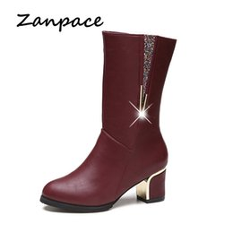 Wholesale Zanpace Middle Barrel Round Toes Boots Original Design Side Zipper Women Boots Heel Sequins Perfect Neutral Shoes