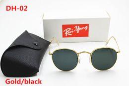 Discount designer sunglasses dark lenses - 1pcs High Quality Fashion Round Sunglasses Mens Womens Designer Brand Sun Glasses Gold Metal Black Dark 50mm Glass Lense