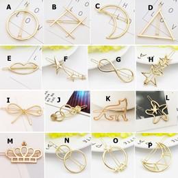 Discount simple wedding hair styles - 16 Styles Simple Elegant Hair Pins Metal Hair Clip Triangle Round Moon Shape Barrettes Head Accessories Gold Silver Colo