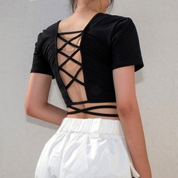 58296aeb0fa women black short sleeve t shirt hollow out back bandage fitness clothing crop  top criss cross lace up tee top WT0538M05