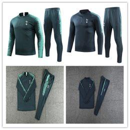 Conjuntos de chaqueta de manga larga 2018 conjunto de fútbol uniforme caliente Tun 2018/19 traje de fútbol + pantalones