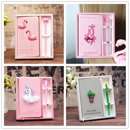 Pink Stationery NZ - Pink Unicorn Flamingo Cactus Notebook Box Set Memo Diary Journal Notepads Gel Pen Stationery School Sketchbook Gift for Girls Kids Students