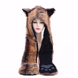 faux fur scarf hood Australia - 2017 new red wolf hoods cute animal faux fur hat cap winter hat female imitation wolf fur with one cartoon scarves
