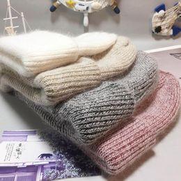 angora hats 2019 - Fashion Angora Rabbit Knitted Skullies Beanies Cashmere Beanies Thick Warm Vogue Ladies Wool Hat Female Warm Beanie Hats