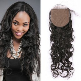 wet wavy malaysian hair 2019 - Wet And Wavy Human Hair Silk Base Closures Bleached Knots Virgin Indian Water Wave Closures G-easy discount wet wavy mal