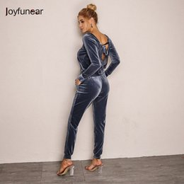 two piece overalls 2019 - Joyfunear New Solid Velvet Loose Sexy Two Piece Set Women 2 Piece Set Tracksuit Autumn Long Sleeve Womens Clothing Overa