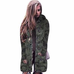 9b272c03cfaa6 New Women Camouflage Long Coat Fashion Drawstring Zipper Long Sleeve Slim  Hooded Jacket Spring Autumn Hip Hop Camo Outerwear