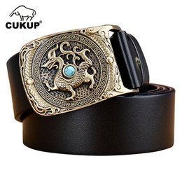be445b93e02f CUKUP Top Quality Cow Skin Leather Belt Novelty Chinese Animal Pattern  Brass Smooth Buckle Metal Belts Men Packed in Box NCK382