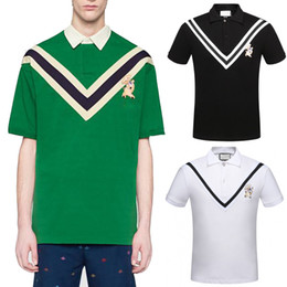 Men Slim Fit Fashion Shirts NZ - Hot Sale Man Fashion Slim-Fit Chevron Striped Embroidered Stretch Cotton Pique Polo Shirt Black White 3XL