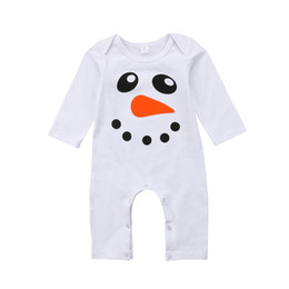 81e71255e46af 2018 New Cute Snowman Baby Romper Newborn Boy Girl Clothes Cotton Long  Sleeve White Jumpsuits Pajamas Spring Autumn Christmas Baby Clothes