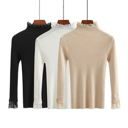 b70fc2c732fa0 Lace High Neck Sweater For Women Slim Elastic Knitted Jumper Crochet Tops  Ladies Long Sleeve Solid Warm Turtleneck Pullovers