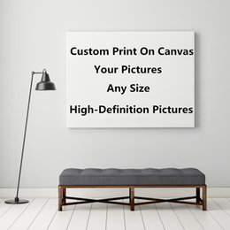 Custom Framed Canvas Prints Australia - Drop Shipping 1 Pieces Customized Prints Paintings Framework Custom Made Canvas Pictures Modular Home Decor