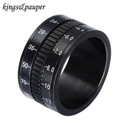 Discount mixed spinner - Stainless Steel Middle Spinner Photographer Rings Jew Unique Black Rotate Camera Hip Hop for Men Charms Jewellery Gift W