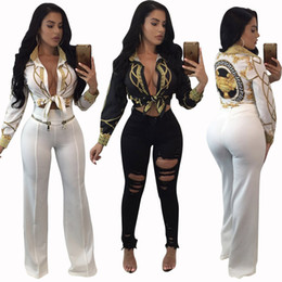 Discount office club clothes - 2018 women sexy blouse gold chain print ladies tops long sleeved party club office formal clothes women shirts tops blus
