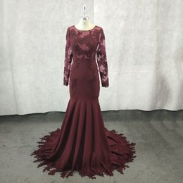 sexy see through dresses pictures NZ - New African Burgundy Mermaid Prom Dresses Long 2018 Scoop Neck Satin Sexy See Through Lace Appliques Beaded Long Sleeves Real Prom Gowns