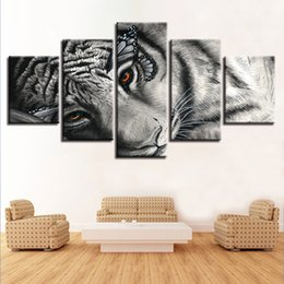 $enCountryForm.capitalKeyWord Australia - Modular Canvas HD Prints Poster Wall Art 5 Pieces Butterfly Eye White Tiger Painting Animal Pictures Living Room Decor Framework