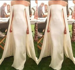 Off white dress red lining online shopping - Newest Elegant Sheath Evening Dresses With Cape Satin Strapless Off Shoulder Floor Length Formal Evening Gowns Fashion Design Party Dresses