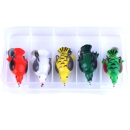soft lure tackle NZ - 5PCS Lot Box Packed Frog Fishing Lure Combo 6.5cm 12.6g Platypus Design Soft Bait Artificial Simulation Plastic Lure Fishing Tackle Set