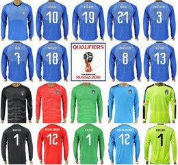 c8f589803 2018 World Cup Italy Long Sleeve Football Shirt Kits 16 DE ROSSI Italia  Soccer Jersey 19 BONUCCI 10 INSIGNE 7 ZAZA 3 CHIELLINI 8 MARCHISIO