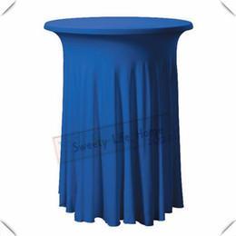 $enCountryForm.capitalKeyWord Australia - Royal blue color 10pcs Strech spandex Cocktail table cover  Lycra table cloths 60cm*110cm Rufffled Birthday party decoration