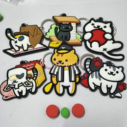 Japanese anime girl figures online shopping - New Japanese anime cat backyard Double Sided PVC Keychain Action Figure Pendant Keyring Collection Gift N