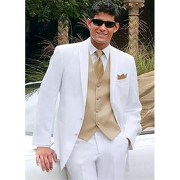 $enCountryForm.capitalKeyWord NZ - white wedding suits for men gold vest Jacket+Pants+Tie+Vest mens Tuxedos Wedding Tuxedos Custom Made Groomsmen suit